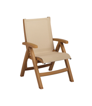 Belize Midback Folding Chair, stackable, designed for outdoor use, sling, teakwo