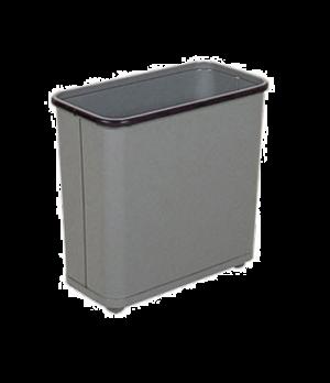 "Steel Wastebasket, 8"" L x 17"" W x 15"" H, 30 quart capacity, open top, gray, UL,"