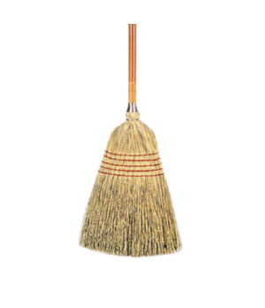 "Corn Broom, standard, 24 lb., 1"" dia. stained/lacquered handle, 100% natural cor"