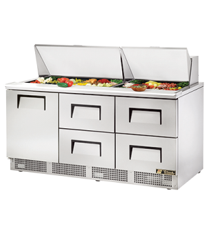 "Sandwich/Salad Unit, three section, self-contained, (30) 1/6 size (4""D) poly pan"