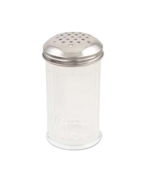 "Cheese Shaker, 12 oz., 3"" dia. x 5-3/5"", clear plastic with stainless steel perf"