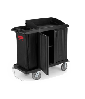 "Xtra™ Housekeeping Cart, 49""L x 22""W x 50""H, compact cart with doors & vinyl bag"