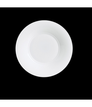 """Plate, 12"""" dia. (6-1/4"""" well), round, rimmed, porcelain, Aura, Rene Ozorio (pric"""