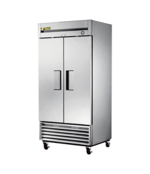 Refrigerator, Reach-in, two-section, stainless steel doors, stainless steel fron