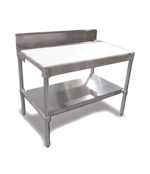 """(14359) Polytop Table Frame, 30""""D x 48""""W, with  6"""" stainless steel backsplash, a"""