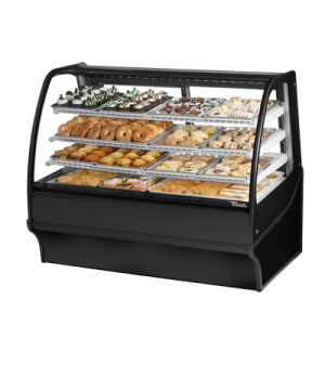 "Display Merchandiser, Non-Refrigerated (Dry), 59-1/4""L, curved glass front, glas"