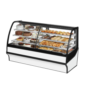 "Display Merchandiser, Dual Zone (Dry/Refrigerated), 77-1/4""L, curved glass front"