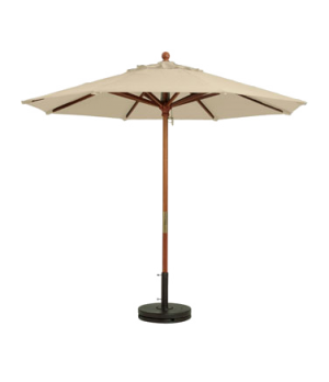 "Market Umbrella, 7 ft, 1-1/2"" wooden pole, Outdura fabric, sand"