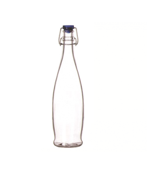 "Water Bottle, 33-7/8 oz., with wire bail lid, glass, (H 12-5/8""; T 1-3/8""; B 3-1"
