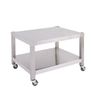 "Equipment Stand, 24"" W, open base with shelf, stainless steel, adjustable feet ("
