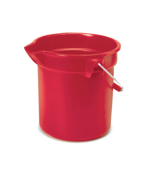 "BRUTE® Bucket, round, 14 qt., 12"" dia x 11-1/4""H, mold-in graduations, red"
