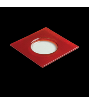 "Halo Specialty Plate, 6-1/2"" dia., round, square, glass, red, Creations (USA sto"