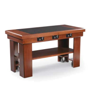 Induction Table, solid maple table (dark cherry color) with ceramic counter (bla