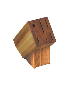 Cutlery Block, empty, 6-slot, slant oak block, holds 5 knives, steel