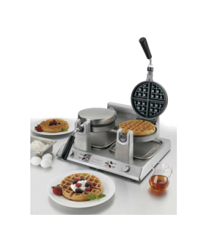 "Belgian Waffle Maker, double, up to (60) 1-1/4"" thick waffles per hour, audio be"