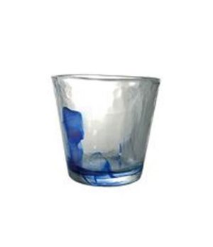 "Rock Tumbler Glass, 9-1/2 oz., 3-1/2"" x 4"", tempered, cobalt, Bormioli, Murano ("