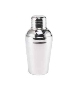 "Cocktail Shaker, 8 oz., 2-5/8"" dia. x 6""H, cover cup, strainer, satin finish int"