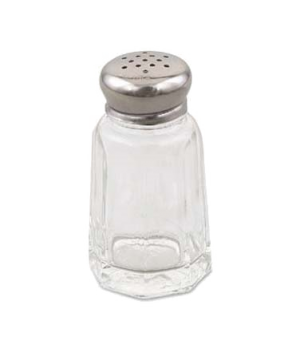 "Salt & Pepper Shaker, 1 oz., 3"" x 1.6"", universal holes, paneled glass jar with"