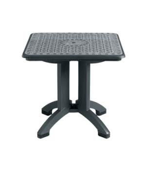 """Toledo Folding Table, 32"""" square, with umbrella hole, Kevring® resin with wrink"""