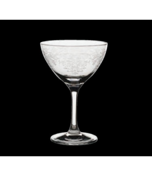 Martini/Cocktail Glass, 8 oz., vintage lace etched pattern, Rona, Minners Classi