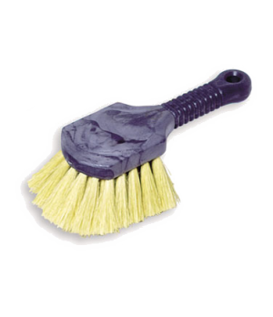 Utility Brush, short plastic handle, tampico fill, yellow