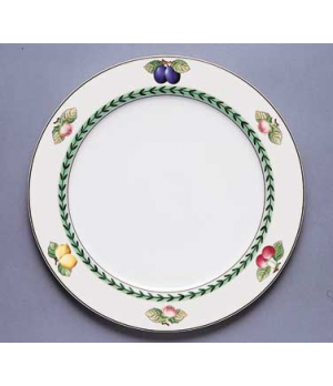 "Plate, 11-3/8"", flat, premium porcelain, French Garden-Dampierre (Special Order)"