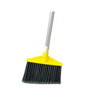"Jumbo Smooth Sweep Angle Broom, 1"" dia. metal handle, polypropylene fill, black"