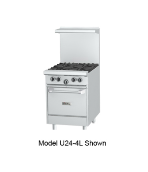 U Series Restaurant Range, gas, 24, (2 32,000 BTU open burners, with cast iron t