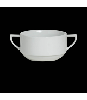 "Bouillon Cup, 12-3/4 oz., 6-1/4"" X 2-3/8"", handled, stackable, porcelain, Sonata"
