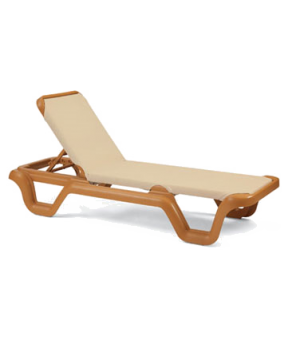 Marina Chaise, without arms, adjustable sling, teakwood frame, power washable, U