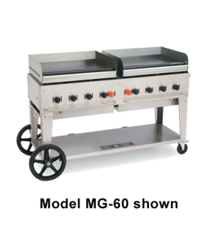 "Outdoor Griddle, mobile, LP gas, 8 burners, 69""L x 28""W, stainless steel  constr"