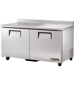 Work Top Refrigerator, two-section, (4) shelves, stainless steel top with rear s