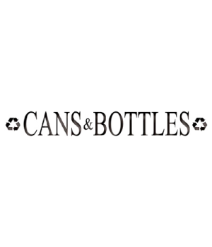 """Silhouette Recycling Decal, """"CANS and BOTTLES"""", light can, 19""""W x 4-3/4""""H"""