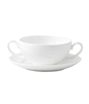 Solar Soup Saucer, dishwasher safe, bone china, white