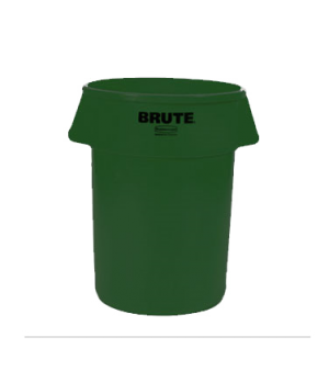 "BRUTE® Container, without lid, 44 gallon, 24""D x 31-1/2""H, round, reinforced rim"
