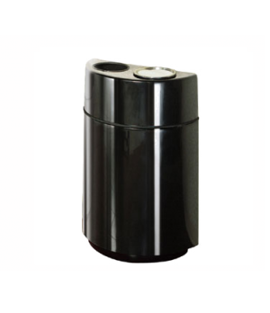 Ash/Trash Receptacle, 24 gallon, half round open top, fiberglass, rigid plastic