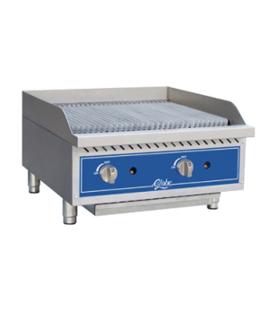 "Charbroiler, gas, char rock, countertop, 24"" wide, heavy-duty reversible cast ir"