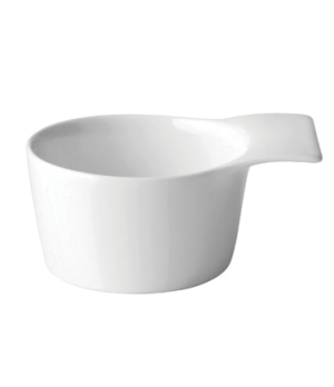 "Ramekin, 4-1/4"" (11 cm), handled, porcelain, microwave and dishwasher safe, edge"