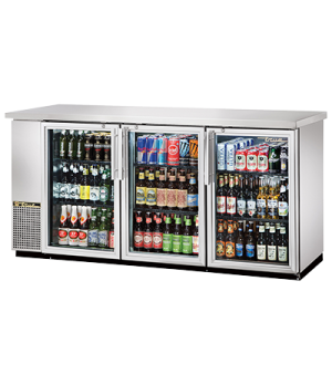 "Back Bar Cooler, three-section, 24"" deep, 35-5/8"" high, (105) 6-packs or (3) 1/2"