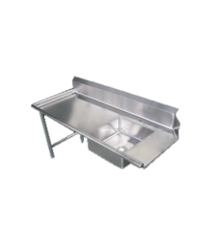"(28486) Dishtable, soiled, 60""W, left side, with sink, stainless steel"
