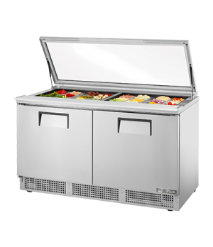 "Sandwich/Salad Unit, two section, self-contained, (24) 1/6 size (4""D) poly pans,"