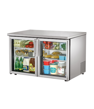 Low Profile Undercounter Refrigerator, 33-38° F, stainless steel top & sides, (2