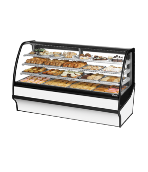 "Display Merchandiser, Non-Refrigerated (Dry), 77-1/4""L, curved glass front, glas"