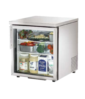Low Profile Undercounter Refrigerator, 33-38° F, stainless steel top & sides, (1