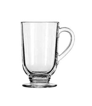 "Irish Coffee Mug, 10-1/2 oz., with handle, (H 5""; T 3-1/16""; B 2-3/4""; D 4-1/4"")"