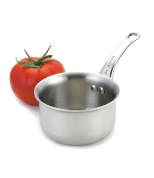 "Mini Sauce Pan, 9-1/2 oz., 3-1/2"" dia. x 2-1/4""H, O.A.L. 7-1/2"", riveted handle,"