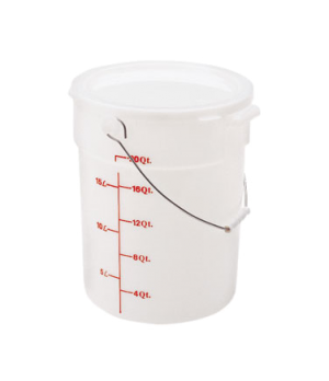 Pail with Bail, 22 qt. capacity, natural white, polyethylene, stain resistant, d