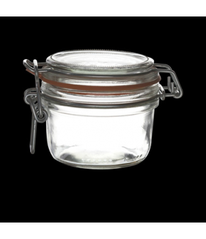 Jar, 6 oz., clear, white gasket, Bormioli, Fido (USA stock item) (minimum = case