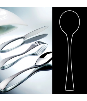 "Soup Spoon, 7"", round, stainless steel, La Tavola, New Wave (USA stock item) (mi"