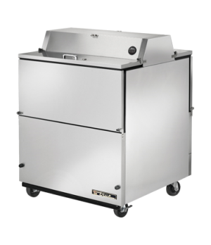Mobile Milk Cooler, FORCED-AIR, (8) crates, DUAL SIDED stainless steel drop fron